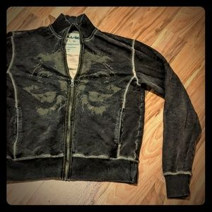 Men's All-Son brown zip up with graphic